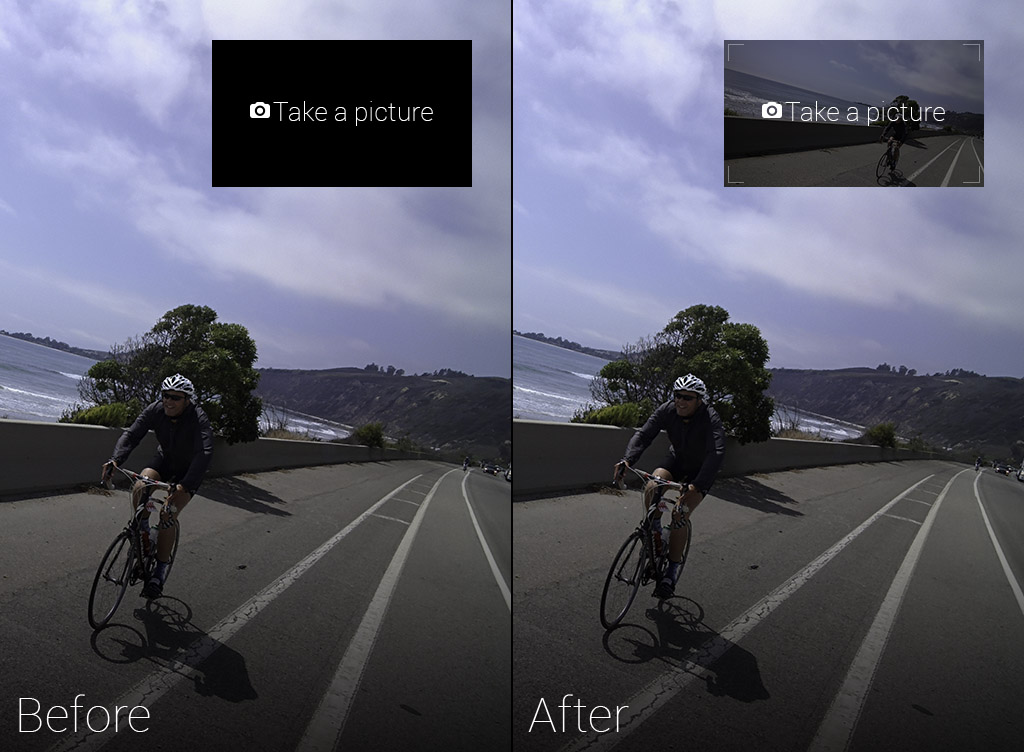 Google Glass Take a Picture with Live Viewfinder