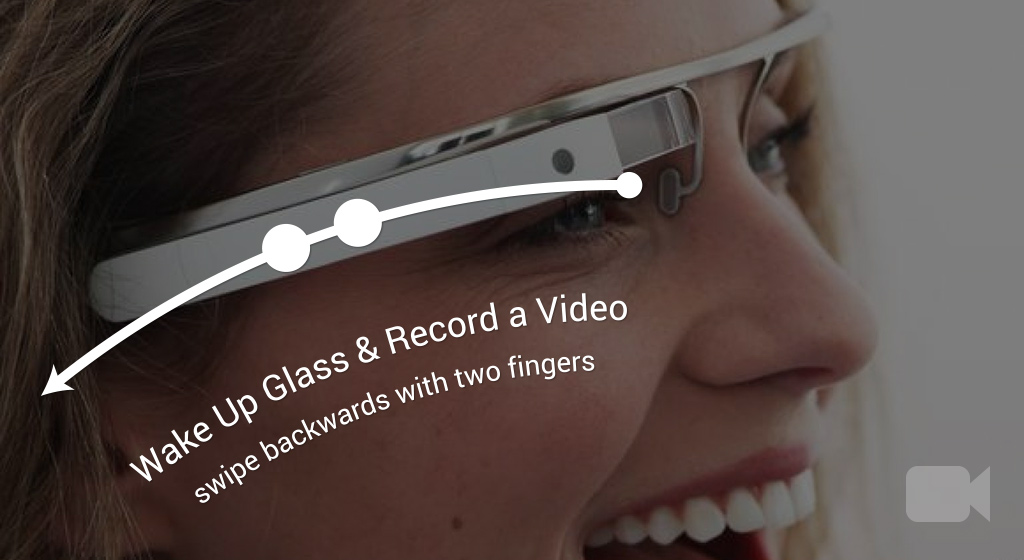 Swipe backwards with two-fingers to wake up Glass & record instant video